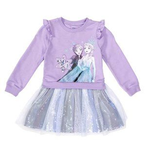 Disney Sweatshirt Dress, Frozen Ruffle shoulders